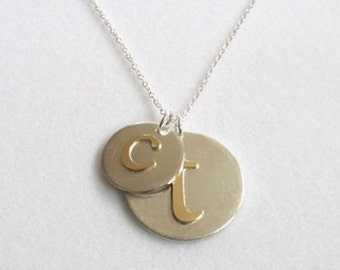 Mom and Baby Personalized Initial Charm Necklace in Gold and Silver, Mother's Day gift