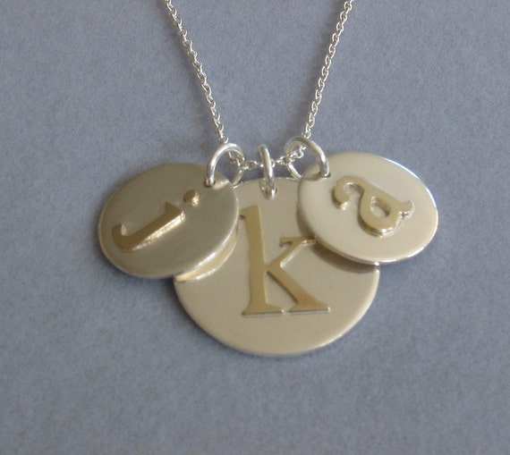 Mom & Baby, Two Child Personalized Initial Charm Gold and Silver Necklace