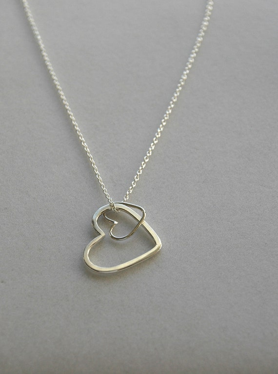 Mom & Baby Silver Hearts Necklace, Valentine's Day Necklace
