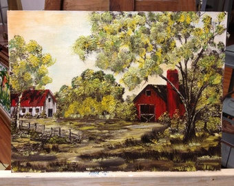 Oil Painting Country Barn Scene on canvas board.. textured..signed