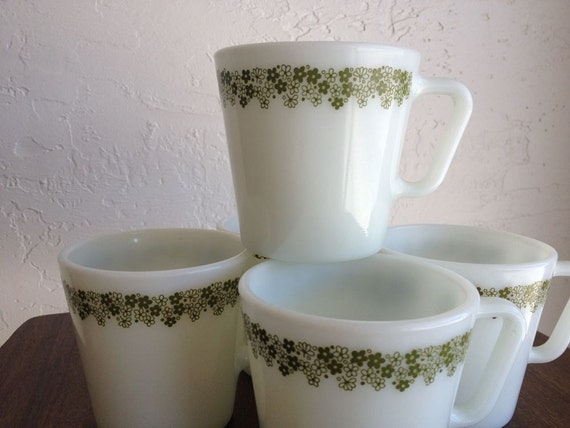 5 Spring Blossom Crazy Daisy White Pyrex coffee cups or mugs w/ Green Flowers