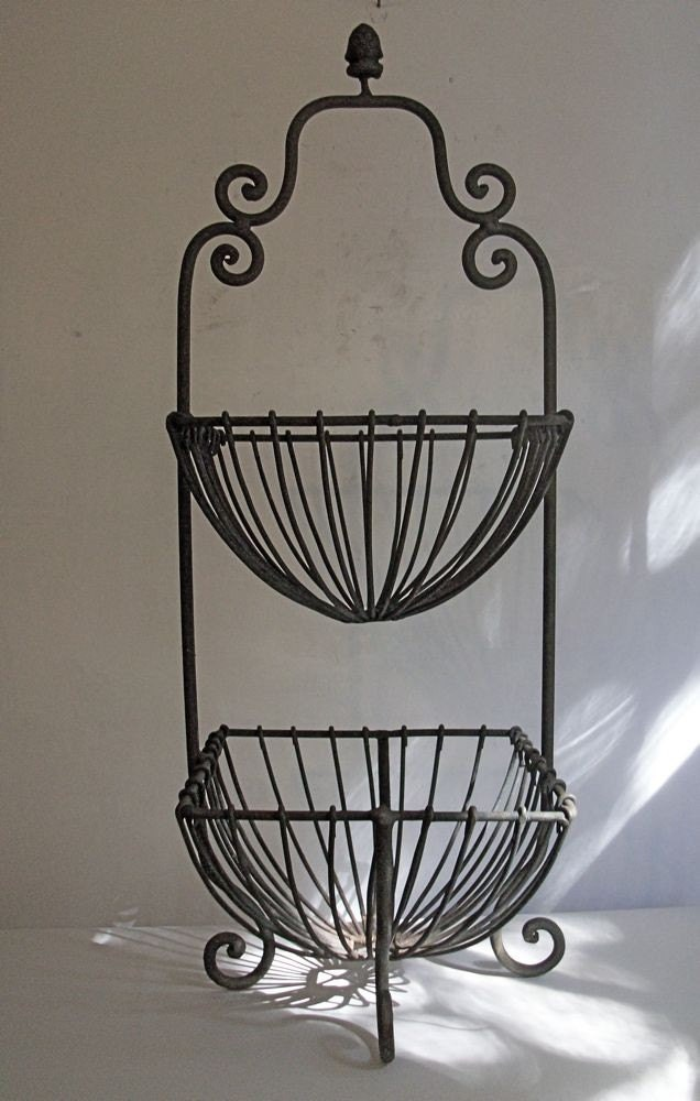 Wrought Iron 2 Tier Fruit Basket Stand