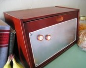 Wooden Bread Box with Magnetic Panel Kitchen Decor