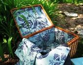 Blue Floral Picnic Basket