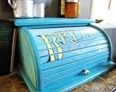 Turquoise and Cream Rolltop Bread Box