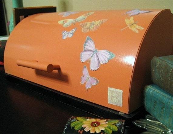 Butterfly Metal Bread Box Kitchen Decor