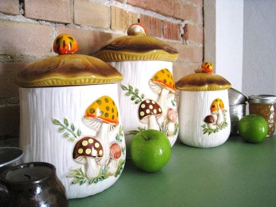 Ceramic Mushroom Kitchen Canister Set Kitchen Decor