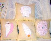 Nautical Art Pillows Handmade Sea Shells Set of 4 Cushion Living Room Home Decor Bed Room Decor Pastel Cream White