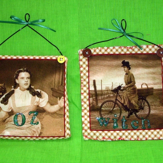 Wizard of Oz Mini Quilts Handmade Wall Hanging Movie Collector Decor Great Gifts Home Decor Sepia Tone Dorothy Toto Wicked Witch
