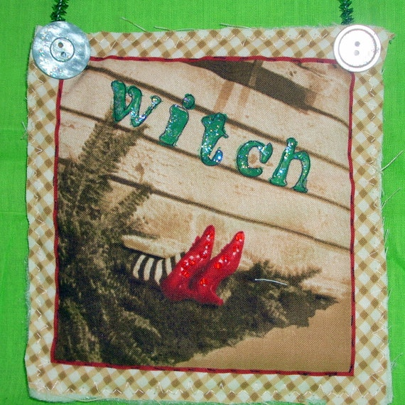 Handmade Wizard of Oz Mini Quilts Wall Hanging Movie Collector Decor Great Gifts Home Decor Sepia Tone Wicked Witch