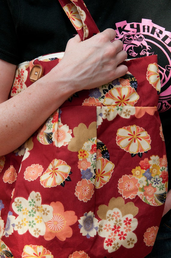 Purse or Project Bag with Japanese Flower Fabric