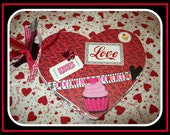 Love and  Kisses Valentine Heart-Shaped Album/Scrapbook Pre-made