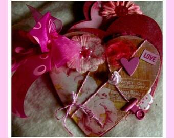 Love heart-shaped Premade Scrapbook/Album