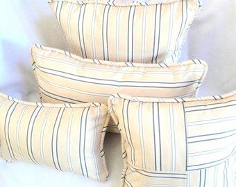 "Striped decorative pillow with insert, cream, green stripes, coastal chic, 12x16 12x22 lumbar bolster, 16"" beach home decor"