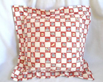 """Circus pillow red, white, blue, flange, big top carnival, clown, nursery decor, 16"""" with insert"""