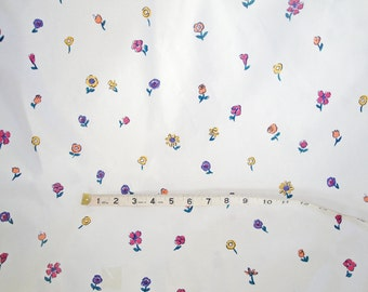 Vintage fabric mini flowers, white, 1980s, girl, violet, purple, yellow, Seabrook floral art, 1 yard, 3 yards available