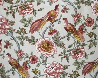 Fabric Bird floral, linen, ecru, drapery material, 1 yard, 5th Ave designs, 1 yard available