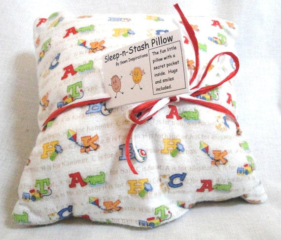 """Reserved for Jessica toddler pillow, ABC, pocket, colorful alphabet stash cushion, car seat, stroller sized 11"""""""