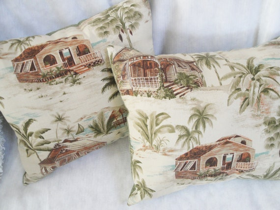 """Outdoor pillows retro tropical, palm trees, tan, chair cushion, porch, deck, 17x14"""" with inserts or custom, reversible set of 2"""
