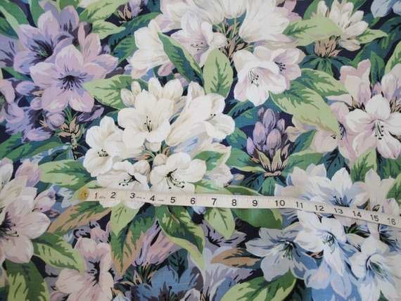 Reserved for Marianne  Vintage floral fabric: amethyst lily, lavender, daylily, spring green, Jay Yang, 1980, 1 yard, 30 yards available