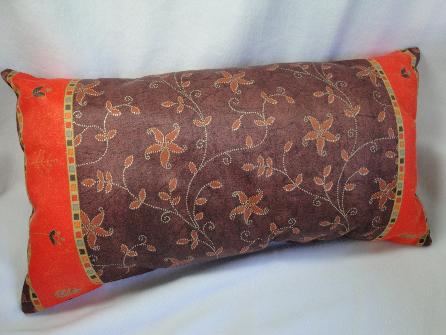 Pillow Brown Red Orange Batik Lumbar Decorative Throw Pillow