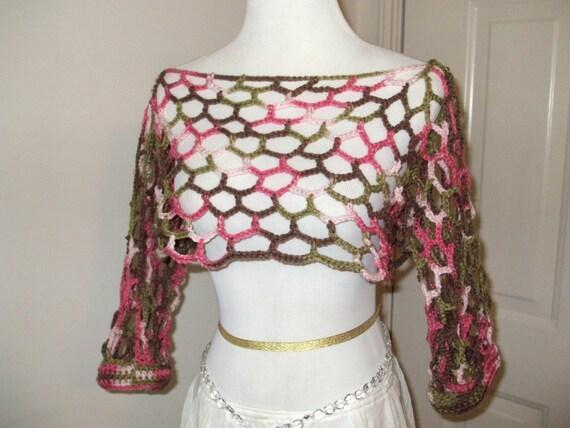Lightweight Summer Open Design Crochet Top, Mesh Crop Top, Crochet Crop, Pink Camouflage