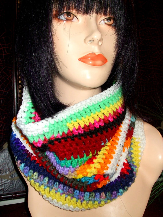 DARE To Be Different Crochet Neckwarmer, crochet cowl, Multi color neckwarmer