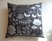 SALE! Kooky Forest in Pearl & Charcoal Cushion Cover