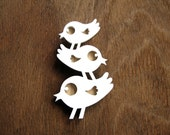 Snow Birdy Stack Brooch