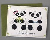 Panda Bride and Groom Wedding A2 Folded Card