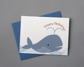 Whale (Happy Birthday) A2 Folded Card