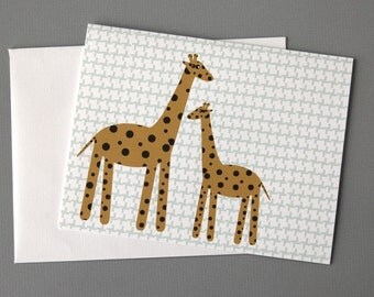 Giraffes with Abstract Houndstooth Pattern A2 Folded Card (Choose a phrase for the inside)