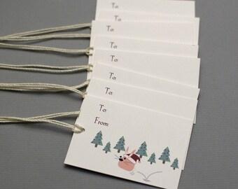 Christmas Bunny Gift Tags (Set of 8)