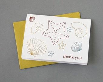 Multi-Color Seashells 4-Bar Folded Card (Choose a phrase for the outside)