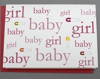 Baby Girl Safety Pin 4-Bar Folded Card
