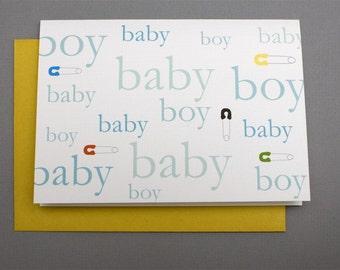 Baby Boy Safety Pin 4-Bar Folded Card