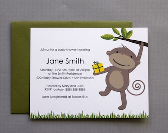 Monkey with Gift A2 Flat Note Baby Shower Invitations (Choose your envelope color) (Set of 10)