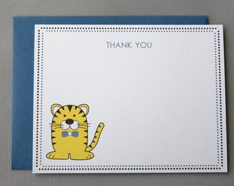 Yellow Tiger Baby Shower (Thank You) A2 Flat Note Cards (Choose your envelope color) (Set of 10)