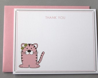 Pink Tiger Baby Shower (Thank You) A2 Flat Note Cards (Choose your envelope color) (Set of 10)