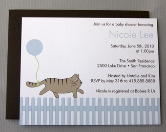 Cat with Blue Balloon A2 Flat Note Baby Shower Invitations (Choose your envelope color) (Set of 10)