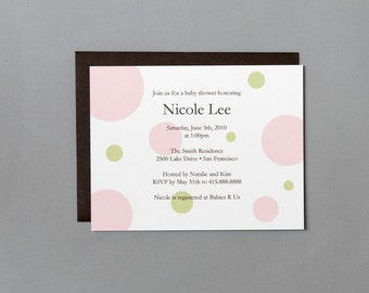 Pink and Green Dots A2 Flat Note Baby Shower Invitations (Choose your envelope color) (Set of 10)