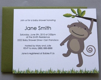 Monkey A2 Flat Note Baby Shower Invitations (Choose your envelope color) (Set of 10)