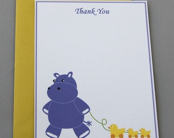 Purple Hippo Baby Shower (Thank You) A2 Flat Note Cards (Choose your envelope color) (Set of 10)