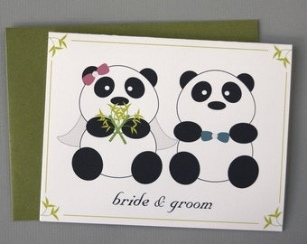 Panda Bride and Groom Wedding A2 Folded Card