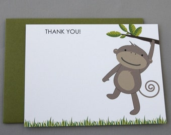 Monkey Baby Shower (Thank You) A2 Flat Note Cards (Choose your envelope color) (Set of 10)