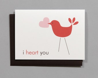 Little Bird (I Heart You) Valentine's/Wedding/Anniversary/Engagement 4-Bar Folded Card