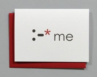 Kiss Me Valentine's 4-Bar Folded Card
