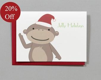 HOLIDAY SALE -- 20% OFF Monkey Christmas (Jolly Holidays) 4-Bar Folded Cards (Set of 10)