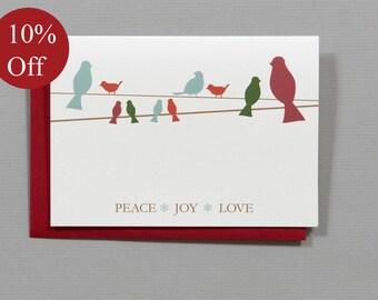 HOLIDAY SALE -- 10% OFF Birds (Peace Joy Love) Christmas 4-Bar Folded Card