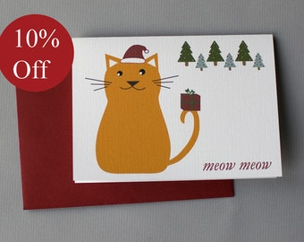 HOLIDAY SALE -- 10% OFF Christmas Cat (Meow Meow) 4-Bar Folded Card